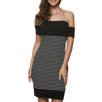 Striped Off The Shoulder Night Out Dresses