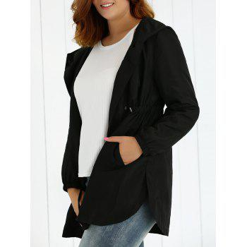 Plus Size Hooded Drawstring Utility Coat