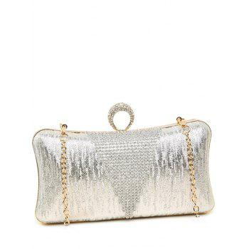 Clip Beading Ring Chains Evening Bag - SILVER SILVER