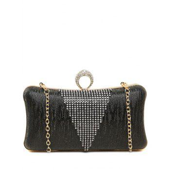 Clip Beading Ring Chains Evening Bag - BLACK BLACK