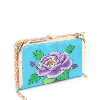 Rhinestone Flower Embroidered Chains Evening Bag - LAKE BLUE LAKE BLUE