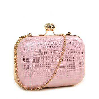 Kiss Lock Stripe Chains Evening Bag - PINK PINK