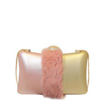 Chains Faux Fur Rhinestone Evening Bag - PINK PINK
