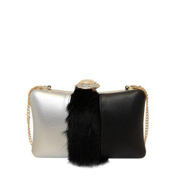Chains Faux Fur Rhinestone Evening Bag - BLACK BLACK