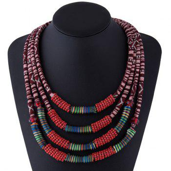 Cloth Rope Bead Layered Necklace