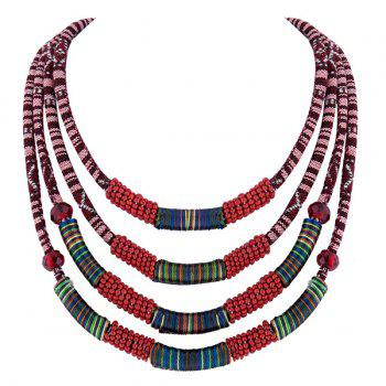 Cloth Rope Bead Layered Necklace - RED