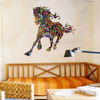 Abstract Colorful Pentium Horse Flower Pattern Removeable Wall Sticker - COLORMIX