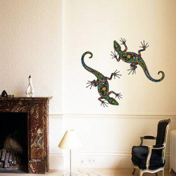 Ethnic Colorful Gecko Flower Pattern Removeable Wall Sticker - COLORMIX
