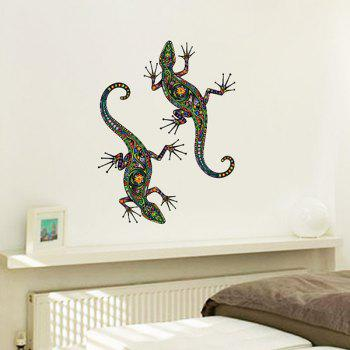 Ethnic Colorful Gecko Flower Pattern Removeable Wall Sticker