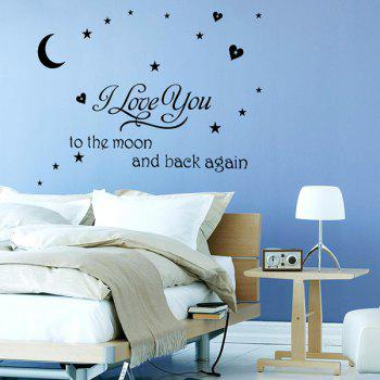 Proverbs Removeable Moon Stars Pattern Wall Sticker - BLACK