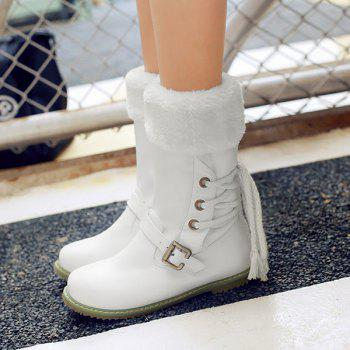 Tie Up Belt Buckle Mid Calf Boots - WHITE 39