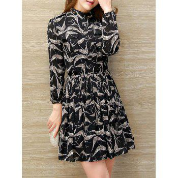 Long Sleeve Printed A Line Shirt Dress