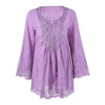 Lace Splicing Long Sleeve Peasant Blouse