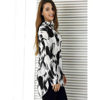 Tie-Dye High Low Hem Shirt - WHITE/BLACK XL