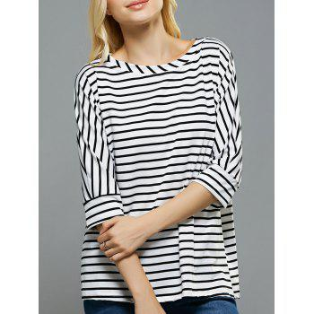 Loose Fitting Dolman Sleeves Striped T-Shirt