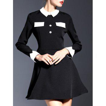 Flat Collar Long Sleeve Flare Dress