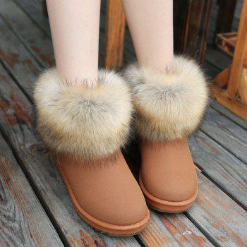 Flat Heel Suede Faux Fur Snow Boots