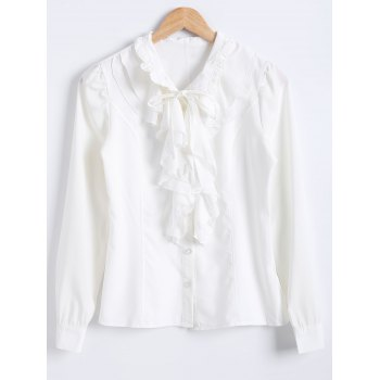 Flounced Bowtie Collar Chiffon Plain Shirt