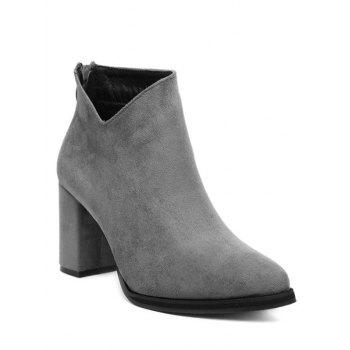 Flock Chunky Heel Pointed Toe Ankle Boots