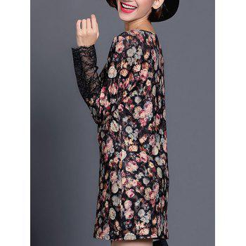 Lace Spliced Floral Mini Dress - BLACK XL