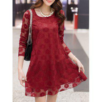 Openwork Lace Swing Dress - WINE RED L