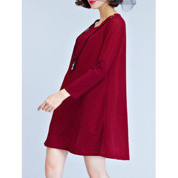Knitted Long Sleeve Dress - WINE RED XL