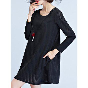Knitted Long Sleeve Dress - L L