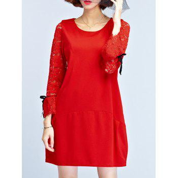 Lace Sleeve Mini Shift Dress - RED RED