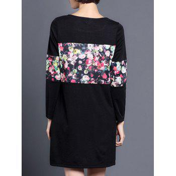 Floral Long Sleeve Shift Dress - L L