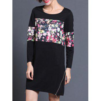 Floral Long Sleeve Shift Dress - BLACK L
