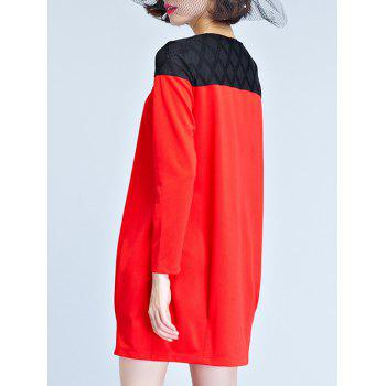 Long Sleeve Mini T Shirt Dress - RED RED
