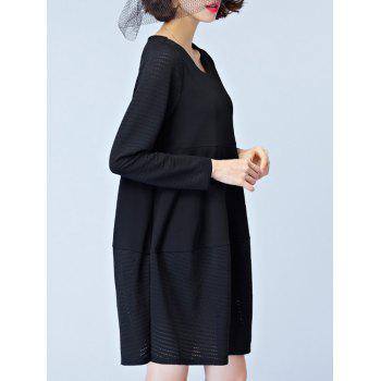 Knitted Hem Smock Dress - BLACK BLACK