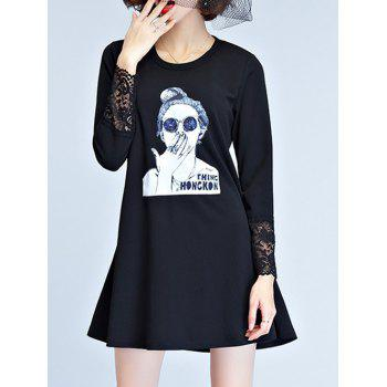 Long Sleeve Knitted Dress - L L
