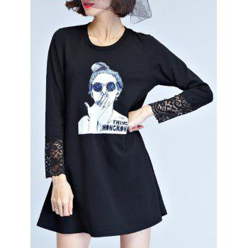 Long Sleeve Knitted Dress - BLACK L