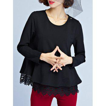 Long Sleeve Peplum Blouse - BLACK XL