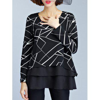 Layered Geometric Chiffon Blouse