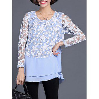 See Through Layered Blouse - LIGHT BLUE L