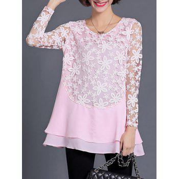 See Through Layered Blouse - SHALLOW PINK L