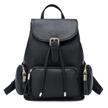 Drawstring Pocket Flap Backpack