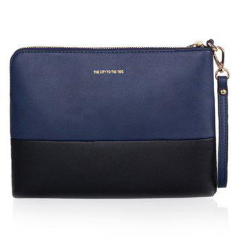 PU Leather Colour Splicing Zipper Clutch Bag - BLUE AND BLACK BLUE/BLACK