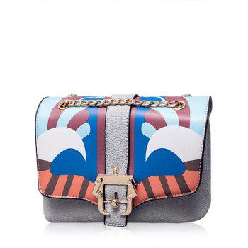 Chain Magnetic Closure Striped Pattern Crossbody Bag