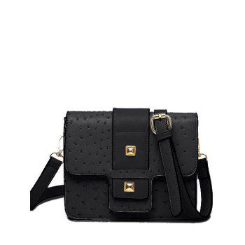 Magnetic Closure Double Rivet Embossing Crossbody Bag