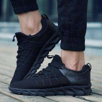 Splicing Lace-Up Athletic Shoes - BLACK 40