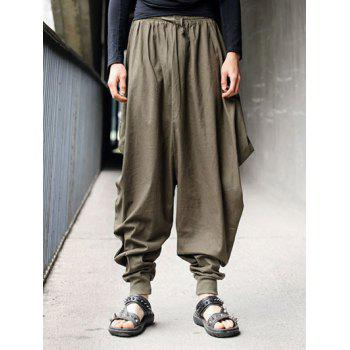Cotton+Linen Lace-Up Beam Feet Loose-Fitting Harem Pants