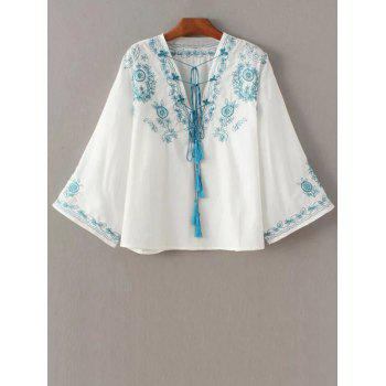 V Neck Retro Embroidered Blouse