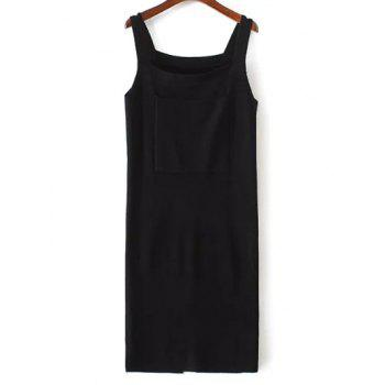 Front Pocket Back Slit Sleeveless Jumper Dress