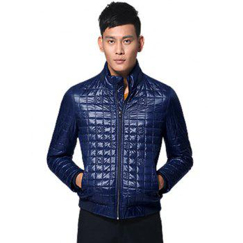 Geometric Zip Up Stand Collar Padded Jacket - PURPLISH BLUE 2XL