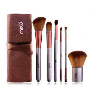 6 PCS Fiber Facial Lip Eye Makeup Brushes Set with Storage Bag - COFFEE COFFEE