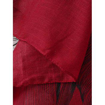 Sketch Flower Pattern Tassel Pashmina - RED