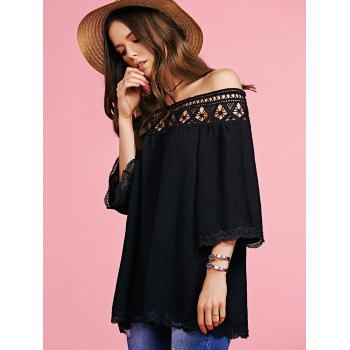 Trendy Off The Shoulder Cut Out Blouse For Women - BLACK M